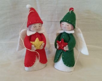 Pair of felted Christmas angel hanging ornaments