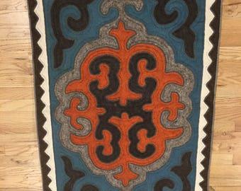 Hand-Felted Wool Shyrdak Rug