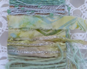 MINT CONDITION  Fiber Art Yarn bundle/12 yds/mint green,lime green yarn/embellishment trim/scrapbook/junk journal/cardmaking/mixed trim pack