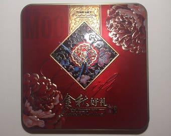 Chinese festival mid-Autumi moon cake Gift Red Stainless steel Wall Quartz Clock