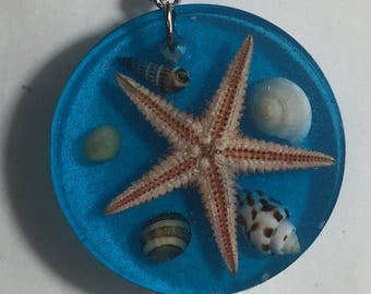 Aquarium Deep Blue Ocean Seashell Starfish Specimen in clear blue Pendant, Necklace or Keychain Handmade