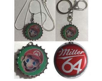 Miller 64 Beer Bottle Cap Super Mario Keychain, Pendant, Necklace