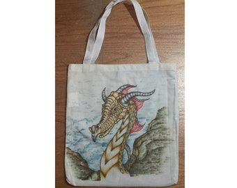 Hand Drawing & coloring Dragon 11.5 x 13 inch Canvas Tote Bag Machine Washable