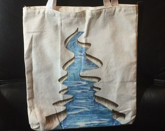 Hand Drawing & coloring 3D broken Land River water 11.5 x 13 inch Canvas Tote Bag Machine Washable