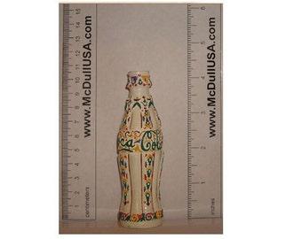 "Coke Coca-Cola Folk Art Mini Miniature bottle 4.25"" tall Limited Edition"