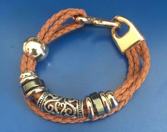 Womens Mens Handmade Braided Italy Leather Ropes Wrap Charm Bracelet