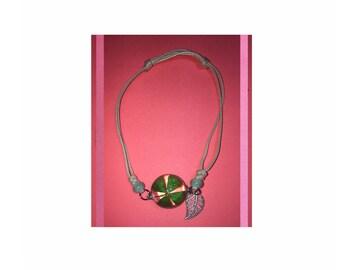 Dried flowers four Green Leaf flowers specimens bracelet glass ball