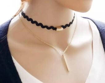 Tattoo Black Lace Choker Necklace Charm Long Tassel Adjustable Pendants Necklaces