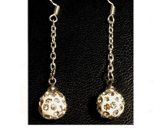 White snowball Crystal ball Earring 925 sterling silver Handmade