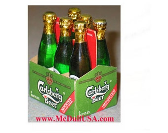 Carlsberg beer 6 Mini Miniature bottles pack with carry board Year 1996
