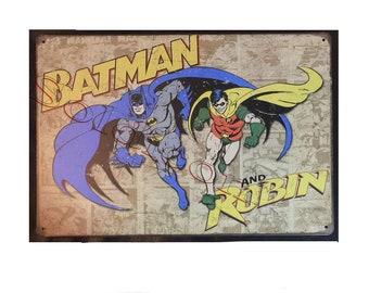 Batman and Robin Comics Sign Wall Metal Sign plate Home decor 11.75 x 7.8 inch