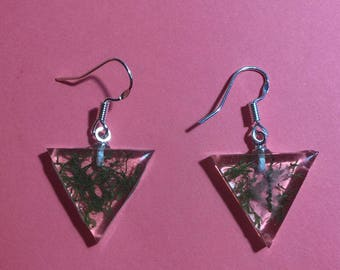 Aquarium green moss Specimen Clear handmade 925 sterling silver earring Handmade