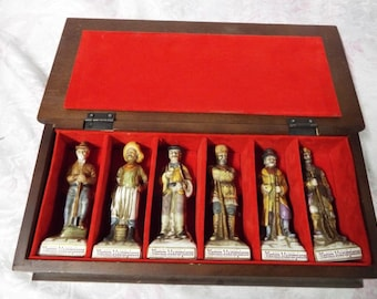 1970's Lionstone Handcrafted miniature mini decanter set of 6 old west with wood case