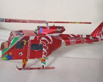 HandMade aluminum Coke Coca-Cola Soda Cans Huey Helicopter
