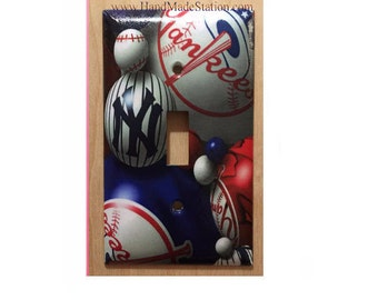 Baseball New York NY Yankees Toggle, Rocker Light Switch & Power Duplex Outlet Plate Cover Home Decor