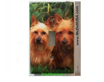 Australia Terrier Dog Toggle, Rocker Light Switch & Power Duplex Outlet Plate Cover Home Decor