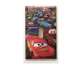 Cars Lightning McQueen Toggle, RockerLight Switch & Power Duplex Outlet Cover Plate home decor