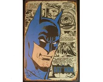 Batman Comics book Sign Wall Metal Sign plate Home decor 11.75 x 7.8 inch