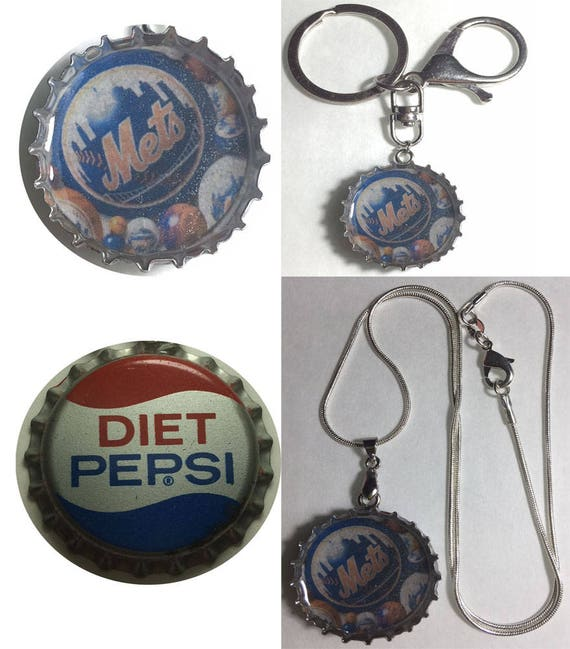 91d15a21b65 Old Diet Pepsi Soda bottle cap NY NYC Mets Baseball Keychain