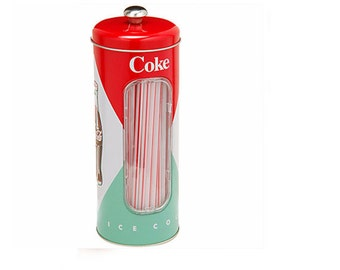 Coke Coca-Cola kitchen countertop Straw metal canister vintage (NEW)