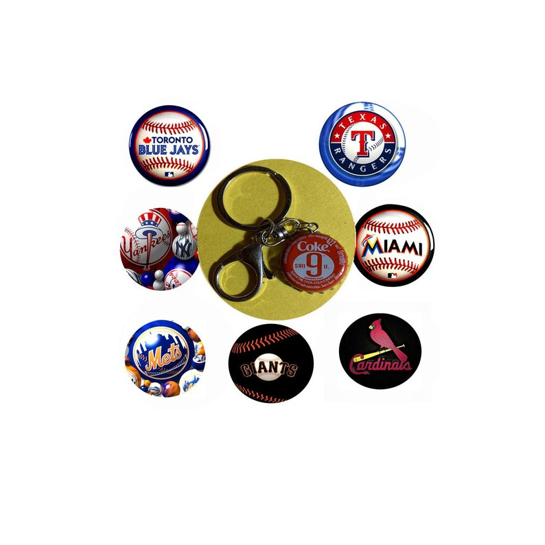 Thailand Coke Coca-Cola Soda bottle caps NY Mets Yankees Blue Jays  Cardinals Miami Marlins Texas Rangers Giants Baseball Keychain