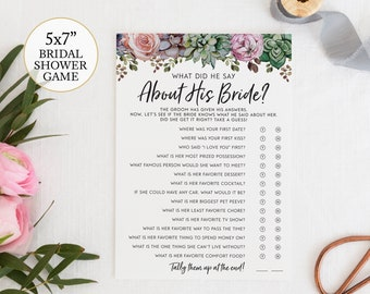 what did he say about his bride bridal shower game succulent modern summer bridal shower guessing game question answer boho shower game diy