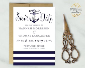 Nautical Save the Date, Save Our Date Announcement, Anchor, Sailing, Marriage Announcement, Wedding Invitations, Custom Save the Date Card
