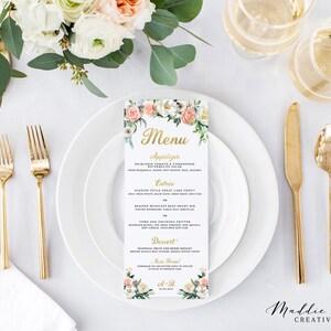 wedding menu bridal shower menu blush and gold summer wedding baby shower menu peach and gold unique wedding menu bridal brunch menu