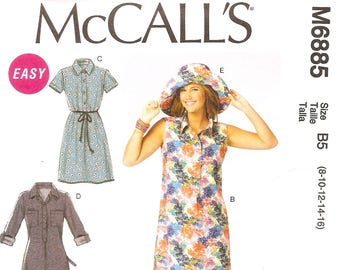 e00e00424be McCall s 6885 – Misses  Shirtdresses and Sun Hat