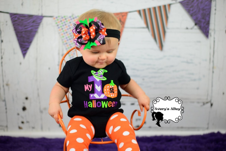 My 1st Halloween  Girls Applique Black Shirt or Bodysuit and image 0