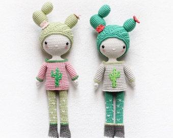 kikalite - Cactus Girl Cactella - amigurumi doll • English / German / Turkish / Italian / Spanish • pattern
