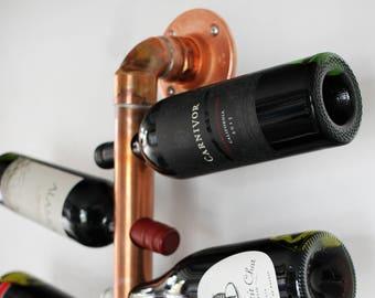 Copper Hanging Wine Rack. Modern Wall Mounted Copper Pipe Wine Bottle Holder for 10  Vino Bottles on an Angle. Elegant Wine Cellar Storage