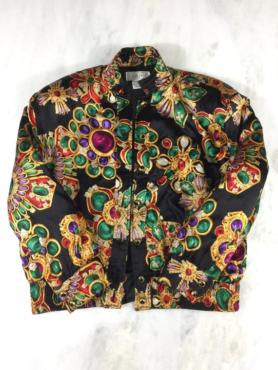 Vintage Silk Printed CARLISLE Bomber Jacket