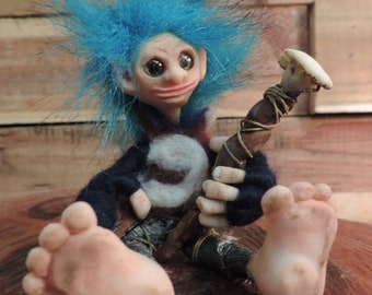 Zipple is a Magical Dew Forest Gnome. Poseable ooak handmade art doll. fairy pixie troll medieval tribal collectible dolls.