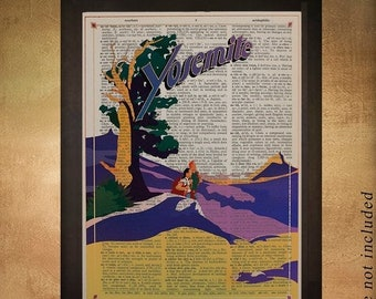 SALE--ship June 25-- Vintage Yosemite travel poster dictionary art print Yosemite Poster Wall Art Home Decor California da1270