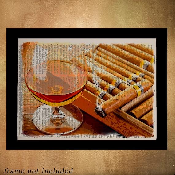 Cigar Box Wall Art: Cigar Box Dictionary Art Print Whiskey Poster Scotch