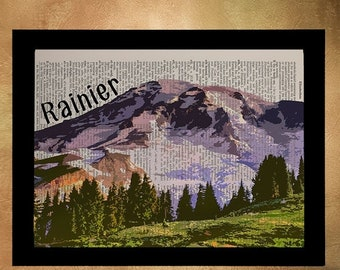 SALE--ship June 25-- Mt Rainier Dictionary Art Print Seattle Washington Pacific Northwest Wall Art Home Decor Travel Poster da946
