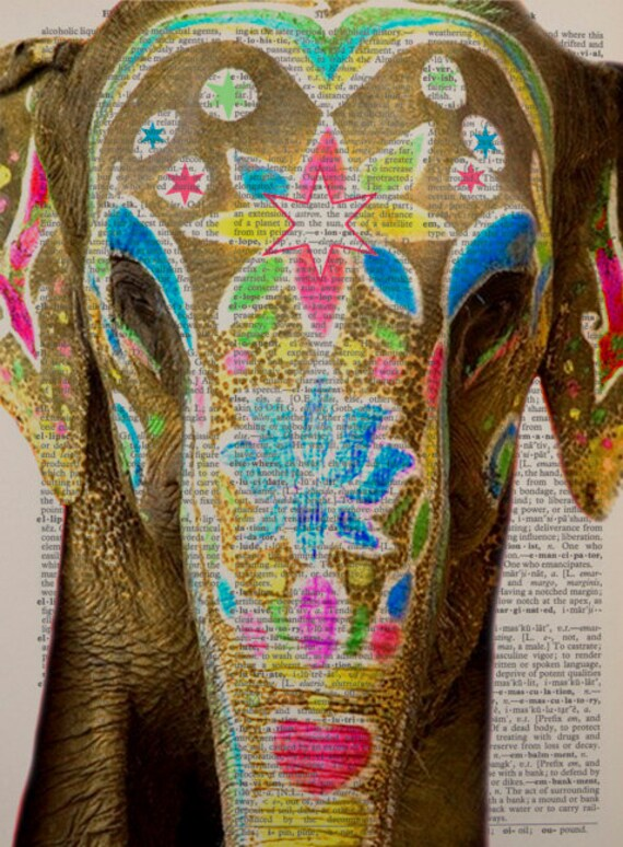 DT INDIAN DECOR WITH ELEPHANTS ART POSTER PRINT BMP10808
