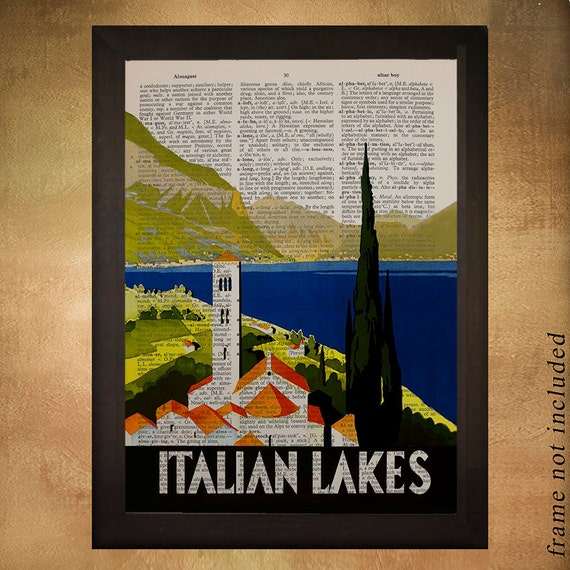 655bd54d8b5 Vintage Italy travel poster printed on upcycled dictionary