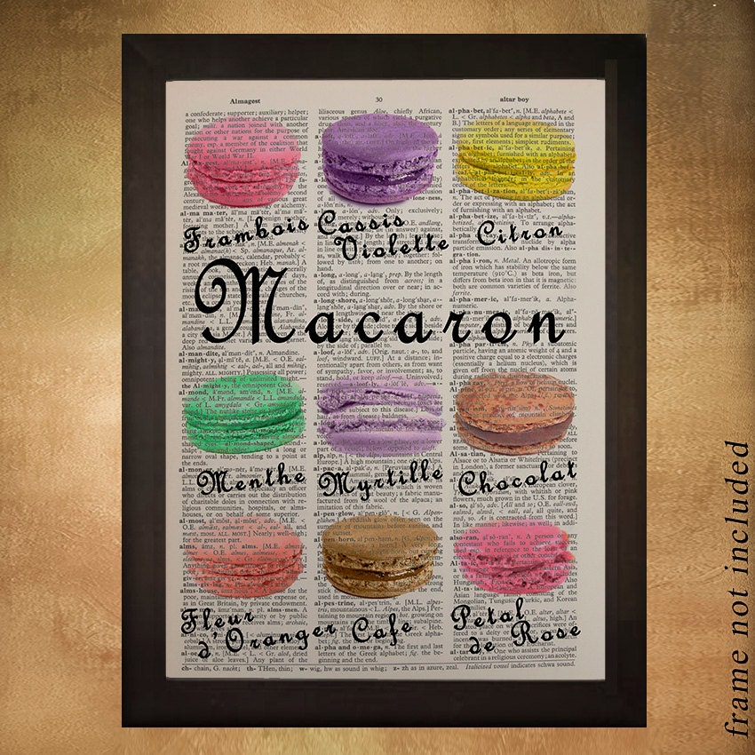 French Macarons Dictionary Art Print Kitchen Art Macaroons