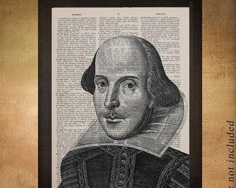SALE--ship June 25-- William Shakespeare Portrait Dictionary Art Print Writer Shakespeare Decor Wall Art Poster Home Decor da1114