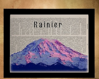 SALE--ship June 25-- Mt Rainier Dictionary Art Print Seattle Washington Pacific Northwest Pacific Northwest Wall Art Home Decor da617