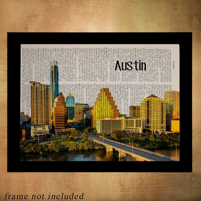 Home Decor Austin: Austin Texas Skyline Dictionary Art Austin Decor Wall Art