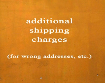 Additional Shipping Charges for reshipments, wrong addresses, etc