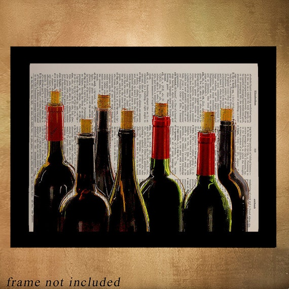Wine Bottles Dictionary Art Print Red Wine Alcohol Bar Kitchen Art on home bar alcohol, christmas bar alcohol, living room bar alcohol,