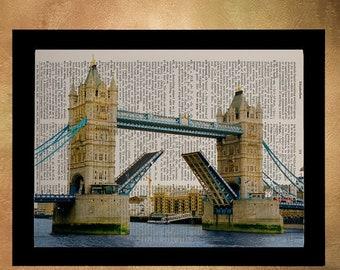 SALE--ship June 25-- London Dictionary Art Print Tower Bridge Architecture England UK Britain Travel Gift Ideas Wall Art Home Decor da784