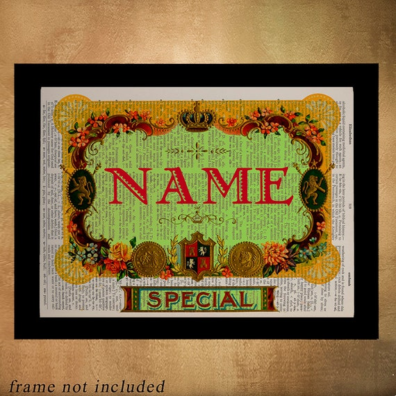 Cigar Box Wall Art: Personalized Cigar Box Label Dictionary Art Print Romantic