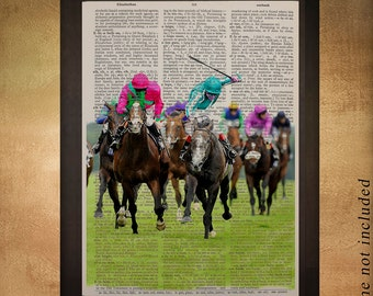 Horse Race Dictionary Art Print Upcycled Book Page Kentucky Derby Belmont Preakness Wall Art Home Decor da530