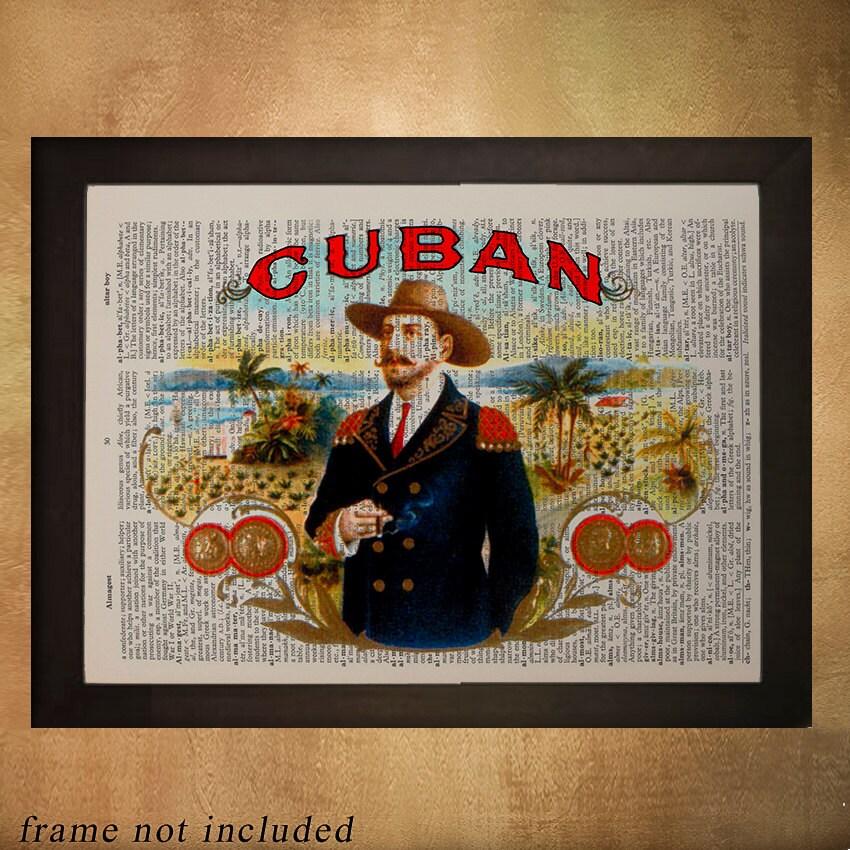 Cuban Cigar Box Label Dictionary Art Print Cuba Tobacco