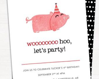 Wooooo Hoo Let's Party, Arkansas Razorbacks, Hogs, Hog Call, Woo Pig Sooie, Birthday Party, Birthday Invitation // DIGITAL, PRINTABLE FILE